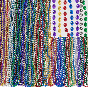"""Party City Mardi Gras Bead Supplies, 30"""" Long Necklaces, 1440 Count, Includes Pu"""