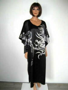 MARJOLAINE black long BABYDOLL size XL 100% SILK NUISETTE longue taille 44