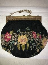 New listing Vintage 1920s Embroidered Rose Silk Purse