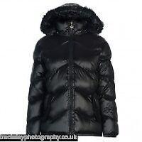 David Barry Womens Black Full zip fur trim padded jacket ladies UK size S