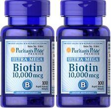 2X Biotin 10.000 mcg x 100 ( 200 ) Caplets Puritan's Pride - 24HR DISPATCH