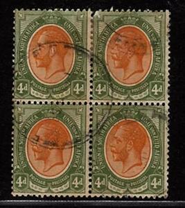 Union 1913-1924 Georg V Block of Four 4d oliv orange