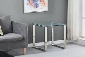 Tempered Glass Side End Table Stainless Steel Chrome Legs Living Room Furniture