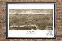 Vintage St. Paul, MN Map 1887 - Historic Minnesota Art Old Victorian Industrial