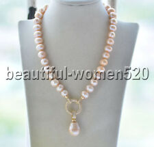 Z9264 12mm Pink Round & Baroque Keshi Pearl Necklace & Pendant CZ 18inch