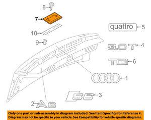 AUDI OEM 12-16 A6 Quattro Trunk Lid-License Plate Bracket 4G58271139B9
