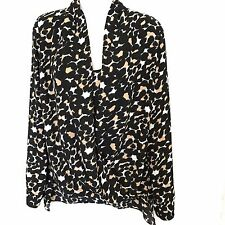 Vince Camuto Hi Low Top Blouse Size Small Built In Camisole Long Sleeve Black