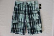 NEW Boys Cargo Shorts Size Large 12 - 14 Blue Plaid Summer Bottoms Casual School