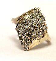 14k yellow gold 1.05ct SI3-I1 H round diamond cluster ring 5.4g ladies estate