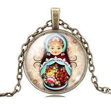 RUSSIAN DOLL PENDANT NECKLACE / Bronze Chain Glass Jewellery Gift Idea Fairytale