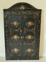"Large Antique/Vtg 40"" Carved Wood ROSES Window Frame Wall Cabinet Door Mirror"
