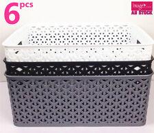 6x Rectangle Storage Basket Wicker Pattern w Carry Holes BK0170