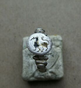 "Ancient Viking Silver FABULOUS STATUS Ring Runic Ornament "" DRAGON "" SUPER RARE"
