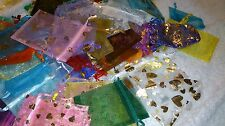 Unwanted JOB LOT 50 IMPERFECT ORGANZA GIFT BAGS Mixed Colours Plain & Patterned