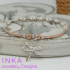 Inka 925 Sterling Silver Stacking Bracelet Rose gold Beads and Dragonfly charm