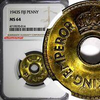 Fiji George VI Brass 1943 S 1 Penny NGC MS64 WWII Emergency Issue KM# 7a