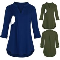 Women Maternity V Neck Wrap Long Sleeve Tops Casual Solid Nursing Blouse T Shirt