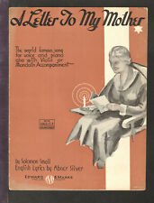 Letter To My Mother 1933 Voice/Piano and Violin Vintage Sheet Music Q28
