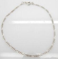 """Figaro Anklet Bracelet-9.5"""" Italy Solid Vintage Sterling Silver/925"""