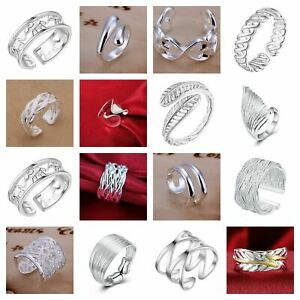 UK 925 Sterling Silver Plated Adjustable Ring Open Band Thumb Finger Women's+Bag