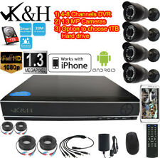4 And  8CH 1080N DVR 1.3 MP HD CCTV IR Home Surveillance Security Camera System