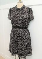 New Modcloth Lace & Mesh Detail A-Line Shirt Dress Sz XS in Black Floral