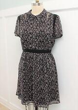 New Modcloth Lace & Mesh Detail A-Line Shirt Dress Sz XL in Black Floral