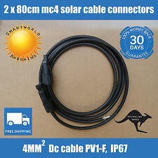 2 x 80cm Extension DC Cable MC4 Connectors for PV Solar panel to regulator