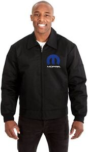 Mopar Men's Mechanics Jacket With Front Chest and Back Emblem Black or Gray
