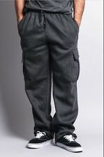 1 NEW Mens Fleece Cargo Pocket Sweat Pants With Drawstring Hip Hop Casual Harem