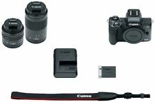 Canon EOS M50 Mirrorless Camera Body and EF-M15-45mm + EF-M 55-200mm Lenses and