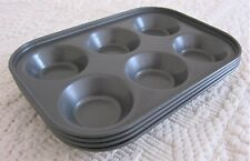Set of 4 Mini Cupcake Muffin Pans Gray Nonstick Finish Steel 6 Cups.