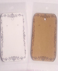 Vintage Style Long Earring Display Holder Stand Cards PLUS Bags - White or Brown