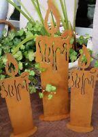 Edelrost Kerzen 3er Set auf Platte Metall Braun Rost Advent Christmas Landhaus