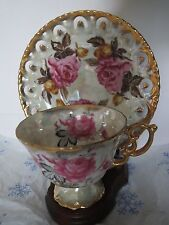 Royal Sealy China-Japan-Lustre Teacup and Reticulated Saucer-Pink & Yellow Roses
