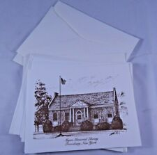 6 Vintage Note Cards & Envelopes Myers Memorial Library Frewsburg NY Stationary