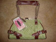 Chinese Laundry Women's Handbags, Purses, Bags, Clutch Green Fabric w/Brown Trim