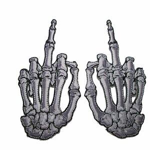 Kreepsville 666 Squelette Main Doigt OS Gothique Paire Patch à Repasser P014FR