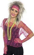 Ladies Neon Pink Lace Net Vest Gloves Headband 80s Hen Fancy Dress Costume Kit
