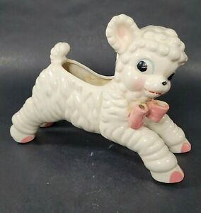 Vintage 50s Ceramic Lamb Planter w Bow Japan Anthropomorphic Kitchy