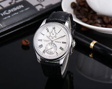 43mm Parnis White Dial Power Reserve Leather Date Automatic Mens Wristwatch 164