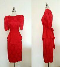 1980s Vintage Women's Red Peplum Key Hole Back Rose Print Party Dress Size Med