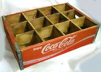 VTG 1977 COCA-COLA COKE RED WOODEN CRATE CASE CARRIER RACK 12 GLASS BOTTLE SLOTS