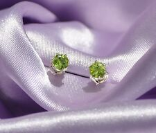 4MM  ROUND GREEN PERIDOT STUDS IN STERLING SILVER--