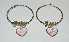 Juicy Couture  JUICY COUTURE Heart & Pearl Silver Tone Hoop Earrings NIB REDUCED