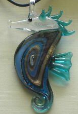 dichroic blue seahorse lampwork glass necklace & earrings #369