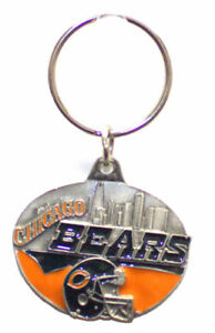 Chicago Bears Oval Carved Metal Keychain