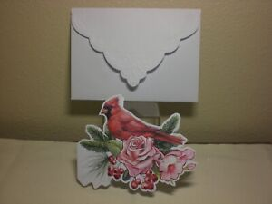 Carol's Rose Garden -  Sympathy card - A Cardinal with pink flowers on front