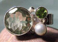 Sterling silver green amethyst/peridot/river pearl cocktail ring UK O½-¾/US 7.5