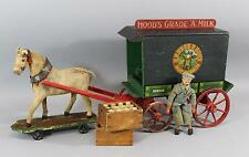 RARE Antique Schoenhut Wood HOOD & SONS Milk Wagon Toy w/ Horse Driver & Bottles